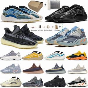 Yezzy 350 V2 Boost Azael Alva 700 bleu sarcelle statique coureur de vague 500 os sel Chaussures de course réfléchissant Noir Glow In Dark Kanye West Oreo sport Chaussures de sport