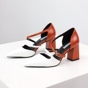 2020 Spring New Korean Style Trendy Unique Fashion Fairy Color Matching Buckle Pointed Toe Chunky Heel Fashion High Heel Womens Shoes