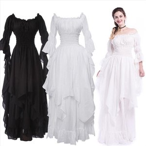Vintage Victorian Medieval Dress Renaissance Black Gothic Dress Women Cosplay Halloween Costume Prom Princess Gown Plus Size 5XL