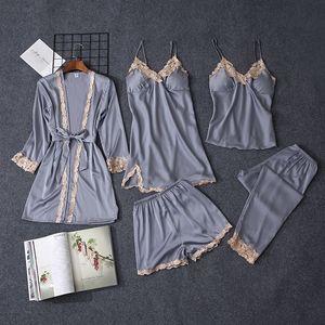 Qweek 5 штук наборы женщин пижама набор сексуальные кружевные атласные сочетания женские пижамы для женщин Pijama Pajama повседневная лаундж сон T200111
