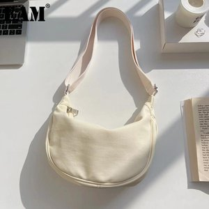 [EAM] Mujeres Nuevo Vintage Breve Half Moon Nylon Lienzo Personalidad Todo-Match Crossbody Bolsa de hombro Moda Tide 2021 18A1475