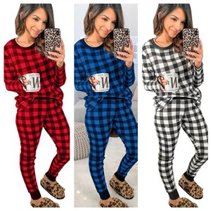 Women Designer Pajamas Simple Classic Plaid Home Wear Autumn Winter Long-sleeved Tops Pullover Trousers Two Pieces Outfits 3 Colors OWA2554