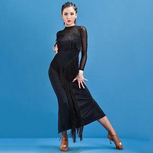 Fashion Latin Dance Dress Women Salsa Tango Cha Cha Samba Rumba Performance Black Fringe Dresses Ballroom Practice Wear DC4269