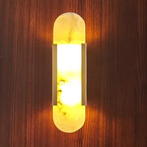 Lámpara de pared de mármol LED 90-260V Sala de estar Corredor Wall Sconce Habitación de hotel Baño Luces de pared Dorado Metal Atmósfera Iluminación