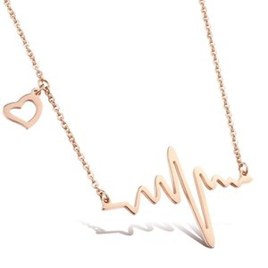 Rose Gold Stainless Steel Heart Electrocardiogram Pendant Necklace Women Choker Collar Jewelry Accessories Dropshipping