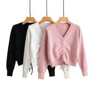Winter-Autumn Fashion Women Drawstring Lace Up Short Pullover Sweater 2019 Chic Female Slim V-neck Knitted Jumper camisola malha B1202