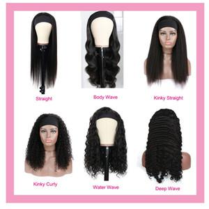 İnsan Saç Kapaksız Peruk Perulu Bakire Saç Bandı Siyah Tam Makine Vücut Dalga Derin Dalga Kinky Kıvırcık Düz 100% İnsan Saç 10-32 inç