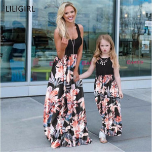 LILIGIRL Mom and Daughter Dress Sleeveless Casual Patchwork Flower Long Dress Mommy and me clothes Mother daughter dresses
