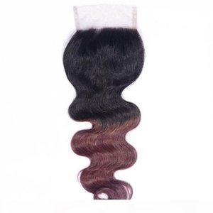 Ombre Brazilian Body Wave Closure T1B 99J Human Hair Lace Closure Burgundy Red Hair Closure 8-20 inches