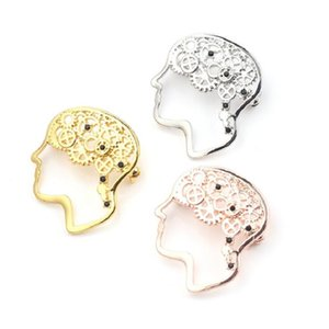 Brooches Fashion Hot Sale New Products Men and Women Personality Retro Metal Gear Brain Couples Brooches Alternative Alloy Plating Pins