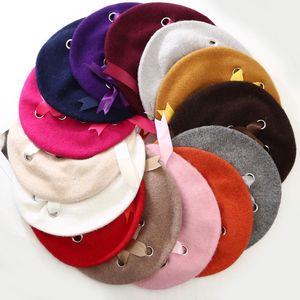 Harajuku donne dell'arco del nastro morbido cappello Beret per ragazze Abbigliamento Eleganza Fluffy Berretti Cap