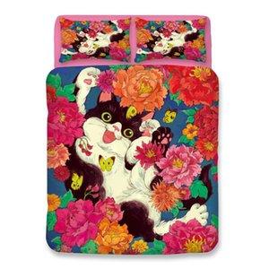 Flowers Cat Bedding sets twin queen king Quilt Cover cute Pillow Case single double girls duvet cover set cartoon bedclothes
