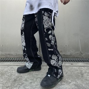 Cashew Print Patchwork Jeans Pants Men and Women Streetwear Straight Washed Harajuku Denim Trousers Loose Ripped Jeans for Men