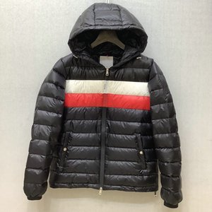 Popular logo and decorates outfit stripe color logo leisure warm hooded jacket down jacket