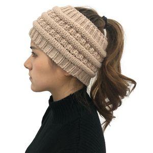 Chapéu de lã de lã vazia chapéu rabo de cavalo malha de malha lãs Novo designer quente chapéu mulheres inverno boné 2020 venda quente