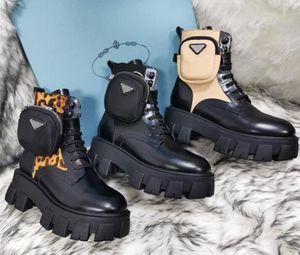 2021 Rois Martin Boots Mujeres Tobillo Cuero genuino Modelos de combate Militar Modelos Plataforma Botines Triple Cowhide Motocycle Zapatos