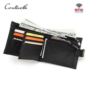Contact Cuir Véritable Hommes Portefeuille Petite Bifold Portefeuilles Bouffre Money Sac Cowhide Porte-cartes Porte-cartes Hasp Casual Male Coin Porte-monnaie