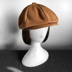 Retro Top Grade Suede Newsboy Caps Men Oversized head circumference Flat Caps Women British Gatsby Cap Autumn Winter Hat LJ201125