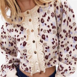 TRAF Women 2020 Fashion Jacquard Crown Crown Cardigan Maglione Vintage Lantern Sleeve Buttons Femmina Capispalla Streetwear