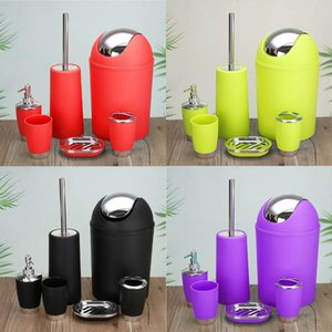 6pcs Bathroom Accessories Sets Toothpaste Tooth Brush Holder Hand Soap Shampoo Storage Bottle With Press Swith Toilet Cleaner