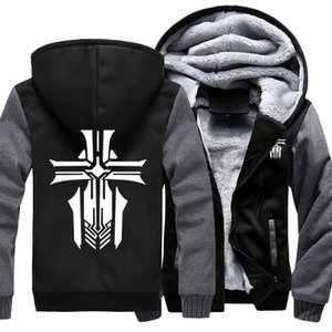 Men's Thicken Hoodie Hot Game Azur Lane Team Printed Zipper Jacket Sweatshirts Coat Long Sleeve Casual Warm Hooded US SizeX1121