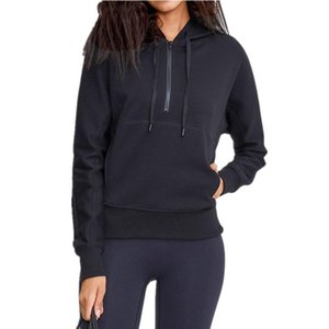 Winter New Sport Coat Female High Quality Loose Long Sleeve Half Zipper Running Hooded Jacket Fitness Workout Windproof Sweater