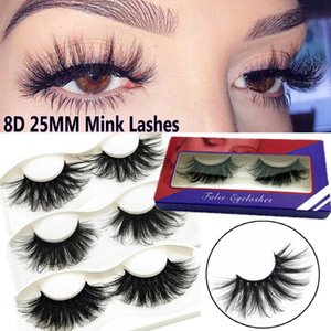 1 Pair 8D 25MM Mink Hair False Eyelashes Soft Multilayered Criss-cross Wispies Fluffy Handmade Reusable Extension Makeup Lashes