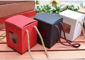 Red Black  Brown White Kraft Paper Gift Box With Clear Window Honey Jam Tea Sugar Box Candy Box EEF3546