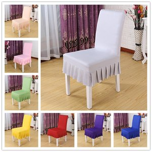 16 Colors Chair Cover Short Ruffled Chair Skirt Stretch Dining Seat Covers Elastic Slipcover Party Banquet Wedding Decor For Home Hotal