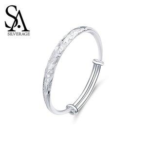 SA Silverage S999 Silber 26,8g 57x57mm Drache und Phoenix Armband Weibliche Sterling Silber Schmuck für Frauen Dame Fine Jewelry 200925