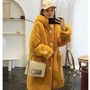 Oloey 2020 Winter Coat Woman Made Fur Mid-Length Lmitation Fur Coat Casual Hooded Leather Plus Size Women's Clothing