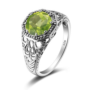 Real 925 Sterling Silver Ring Gemstones Peridot Rings Round Vintage Handmade Design Unique Party Women Fine Jewelry Christmas B1205