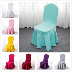 17 Colors Dining Chair Cover Ruffled Skirt Stool Slipcover Stretch Spandex Chair Protectors Chair Seat Cover For Home Party Wedding Decor