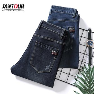 Jantour Elasticity Men Jeans Autumn Winter Fashion Letter Print Trousers Scratched Straight Pants Man Vaqueros Hombre Work Pants