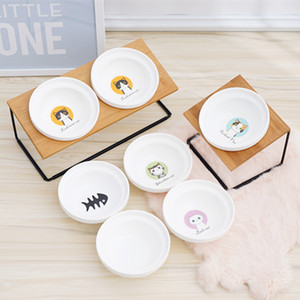 Cute Cat Bowl High-end Pet Bowl Bamboo Shelf Ceramic Feeding and Drinking Bowls for Dogs and Cats Pet Feeder Dog Double Bowls Q1224