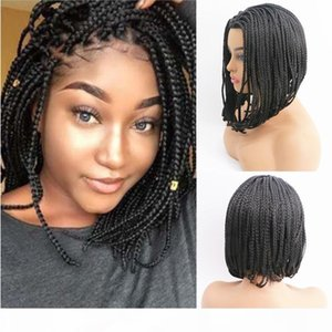 Non Front Lace Non Hand Hook Wigs Fashionable African Dirty Braid Three Braided Wig Women's Black Synthetic Wig