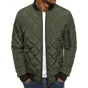 Men's Padding Bomber Jacket Male Autumn Winter Diamond Quilting Padded Jacket Windproof Outwear Overcoat Pilot Jacket X1116