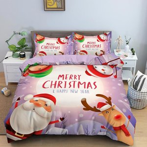 3D Christmas Bedding Duvet Cover Sets King Size Santa Claus Reindeer Bedding 2 3Pcs Snowflake Quilt Cover Kids