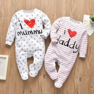 Recém-nascido infantil meninos meninos meninas romper pijama algodão cute letra eu amo papai e mamãe manga comprida jumpsuit toddler roupas 201030