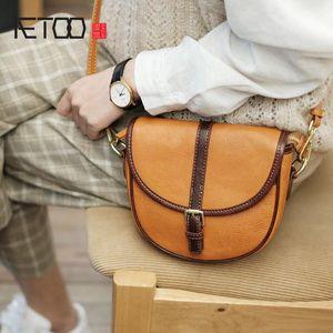 Aetoo Semicircle Retro, weibliche Leder Hit Farbe Crossbody Bag, vielseitige Temperament-Schultertasche