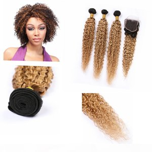 """Ombre Honey Blonde Weave Curly Hair Human Bundles with Closure 4"""" * 4"""" Dark Root Kinky Curly Ombre Indian Curly Bundles and Closur"""