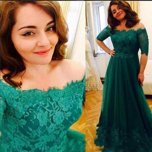 2018 Elegant Emerald Green Mother Of The Bride Dresses Bateau Off Shoulder High Sleeves Lace Applique Tulle Party Evening Wedding Guest Gown