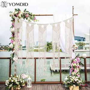 Yomdid rustico macrame macrame tende boho tapestry beige in cotone lavorato a maglia grandi arazzi Nordic wedding party decorazioni murali