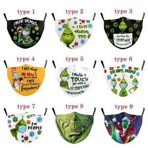 26 Styles Grinch Stole Christmas 3D Print Cosplay Cotton Face Masks Reusable Washable Dust Proof Cute Fashion Adult Face Mask 2021 Ornaments
