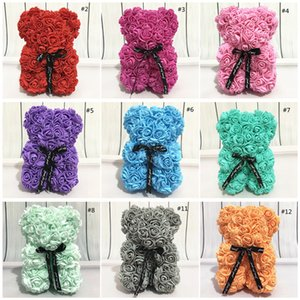 Rose Teddy NEW Day 25cm Flower Bear Artificial Decoration Christmas for Women Valentines Gift DHF1507