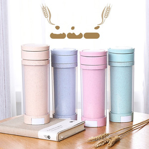 Mobile Phone Bracket Cup Wheat Straw Water Bottle Double Deck Tumbler Promotion Gift Multi Function Glass Annular Handle 4 8ctb1