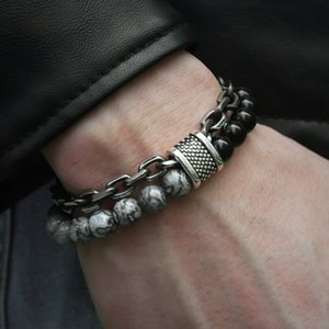 Men Gun Black Link Chain Yoga Bead Bracelet Natural Frosted Beads Map Stone Bracelet 21CM