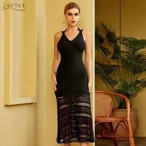 Adyce nouvelle été femmes black bandage bandage robe sexy sans manches creux de célébrité célébrité célébrité robe de soirée
