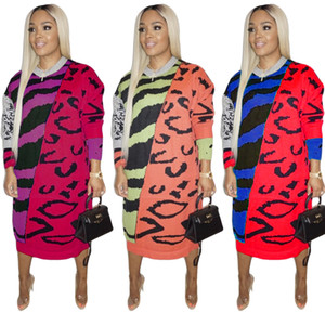 Autumn Winter Multicolored Printing Women Dress O Neck Long Sleeves Fashion Lady Loose Casual Party Dresses New Arrvials Real Images