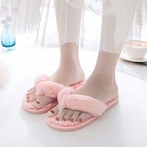 Bevergreen Winter Pele Flip Flops Mulheres Casa Faux Fur Chinelos Quente Quarto Senhoras Sapatos Liso Home Meninas Felry Chinelos 201209